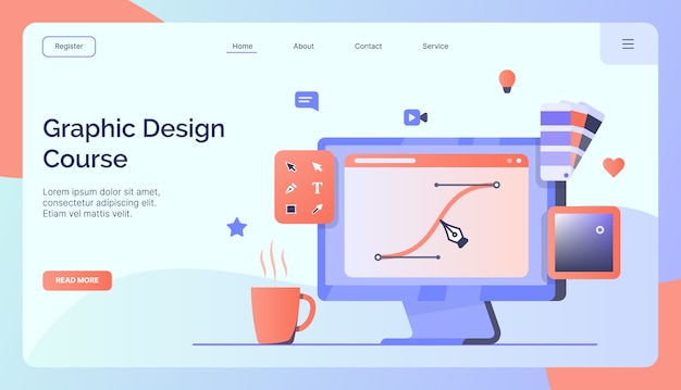 Graphic Design Course Campaign For Web Website Home Homepage Landing Template Banner Modern Flat Style Premium Vector