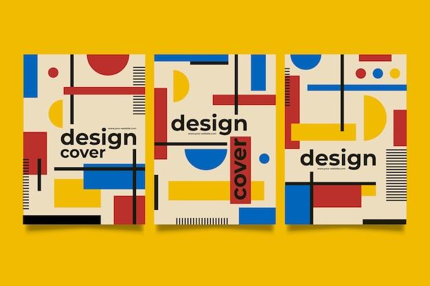 バウガウススタイルのグラフィックデザインカバーコレクション 無料ベクター