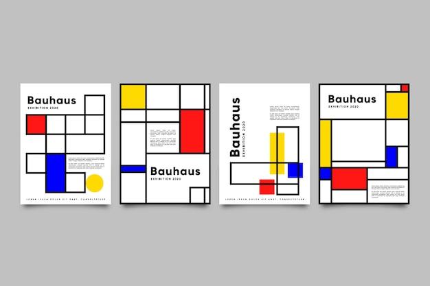 バウハウススタイルのグラフィックデザインカバーセット Premiumベクター