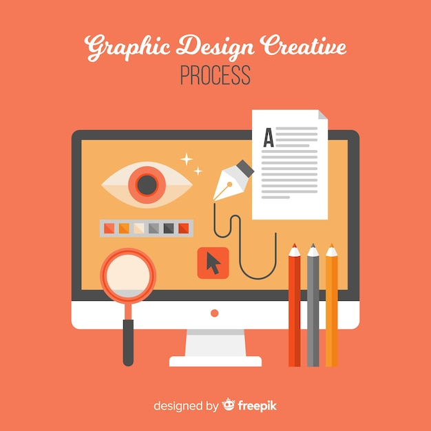 Graphic design creative process concept Free Vector