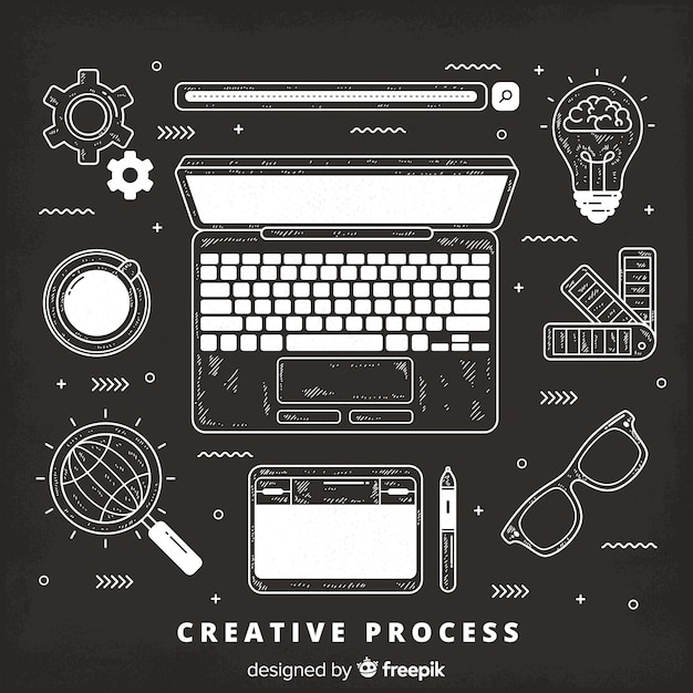 Graphic design creative process Free Vector