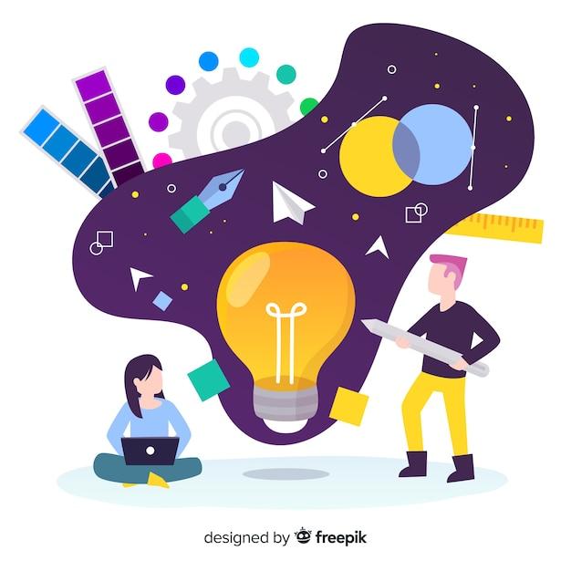 Graphic design creative process Free Vector