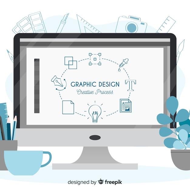 Графический дизайн, творческий процесс Premium векторы