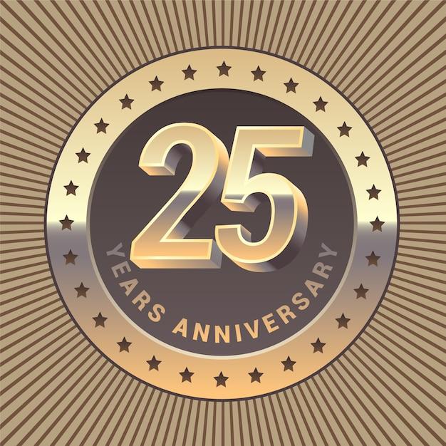 Элемент графического дизайна или эмблема в виде золотой медали к 25-летию Premium векторы