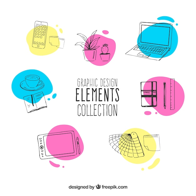 Graphic design elements collection in hand drawn style Free Vector