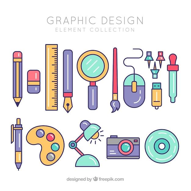 Коллекция элементов графического дизайна в плоском стиле Бесплатные векторы
