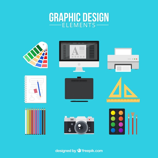 Graphic design elements collection in flat style Free Vector