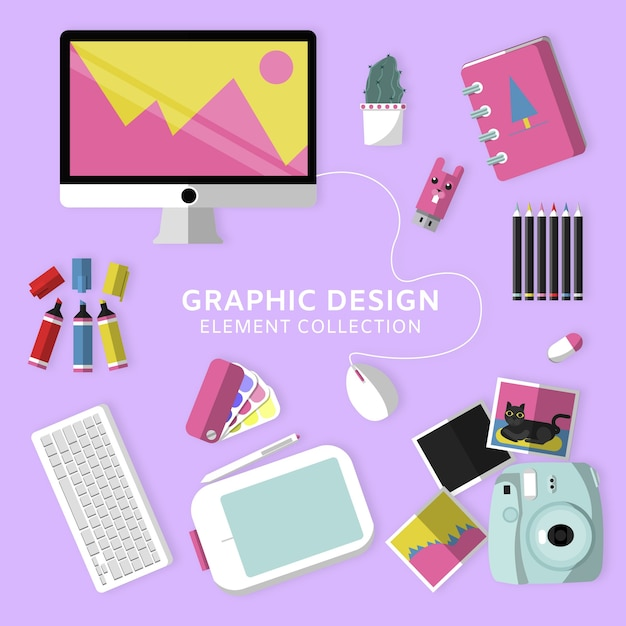 Graphic Design Elements Collection With Top View Vector Free Download - Graphic design