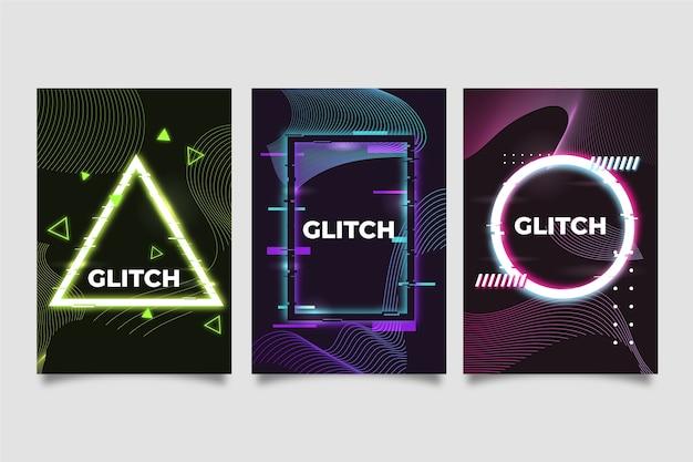 グラフィックデザインのグリッチカバーコレクションコンセプト 無料ベクター