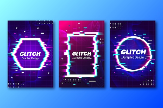 Collezione di grafica glitch cover Vettore gratuito