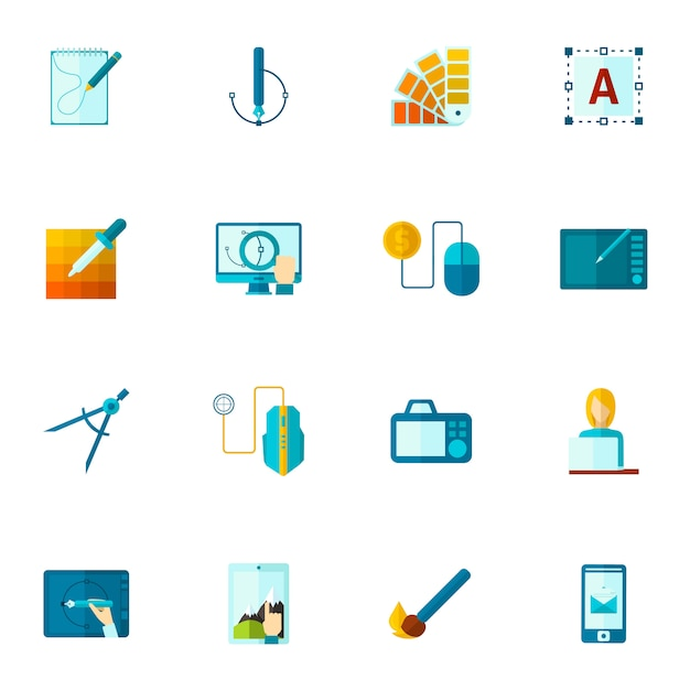 Graphic design icons flat Free Vector
