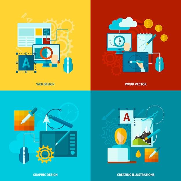 Graphic design icons flat Premium Vector
