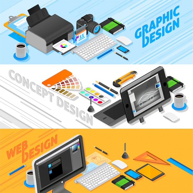 Graphic design isometric banners set Free Vector