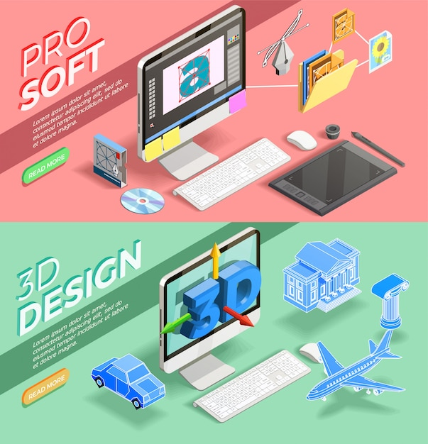 Graphic design isometric banners Free Vector