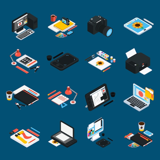 Graphic design isometric icons Free Vector
