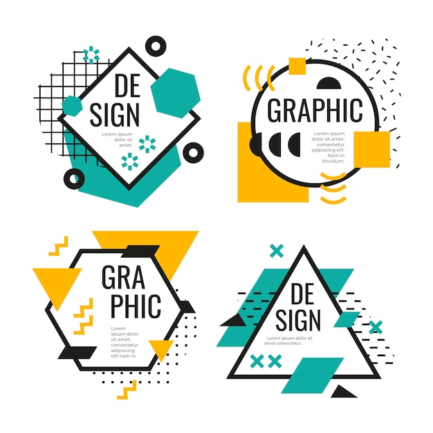 Коллекция графического дизайна этикеток Бесплатные векторы