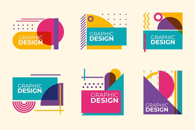 Graphic design labels in geometric style Premium Vector
