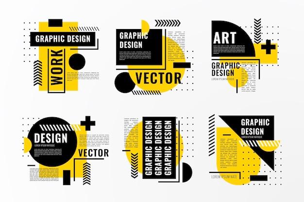 Graphic design labels in geometric style Premium Vector