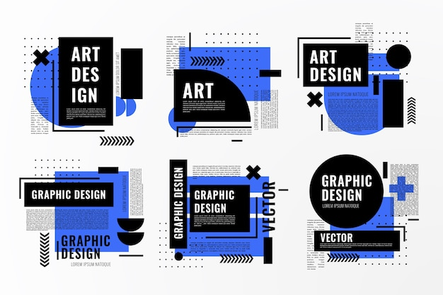 Graphic design labels in geometric style Free Vector