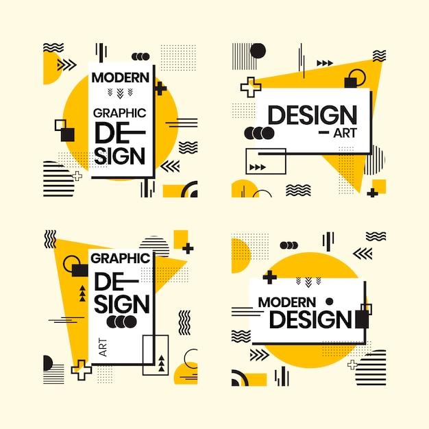 기하학적 스타일의 그래픽 디자인 레이블 무료 벡터