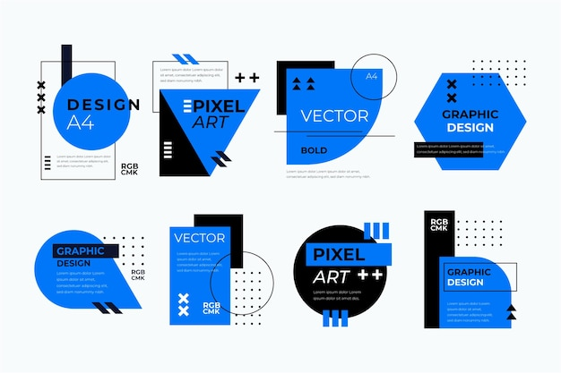 Графический дизайн этикетки в геометрическом стиле Бесплатные векторы