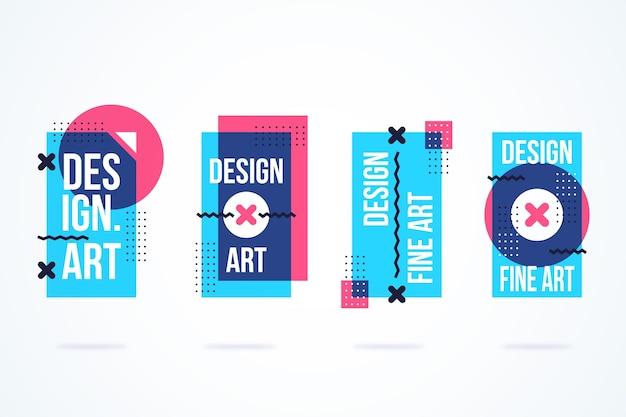 기하학적 디자인의 그래픽 디자인 레이블 무료 벡터