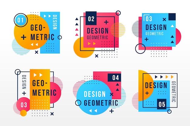 기하학적 스타일의 그래픽 디자인 레이블 프리미엄 벡터