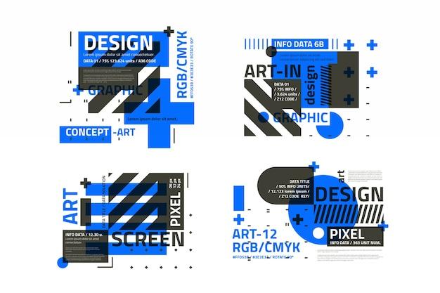 幾何学的なスタイルのグラフィックデザインラベルパック 無料ベクター
