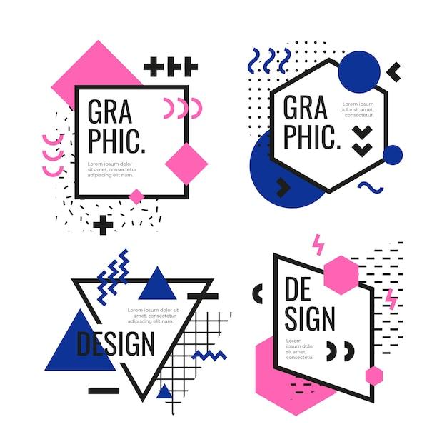 Пакет с графическим дизайном Бесплатные векторы