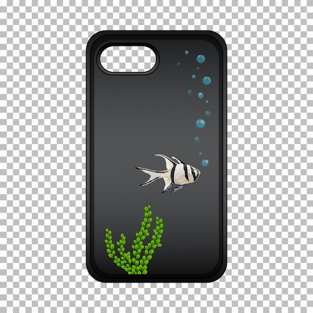 Graphic design on mobile phone case with cute fish Free Vector