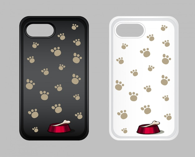 Graphic design on mobile phone case with dog footprints Free Vector