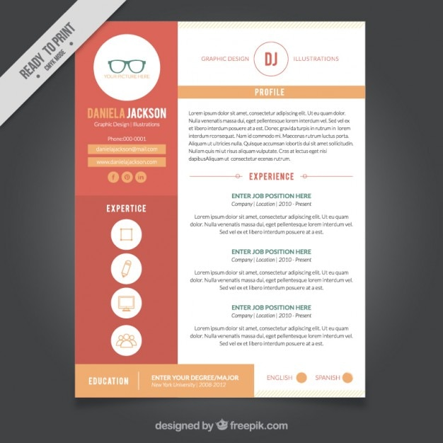 Graphic design resume template vector free download for Graphic designer resume template free download