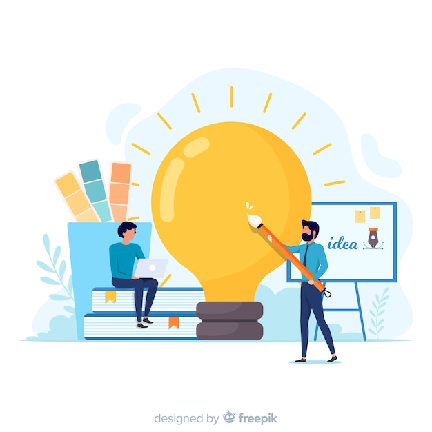 Graphic design team developing idea Free Vector
