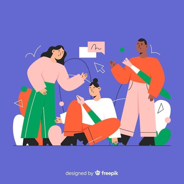 Graphic design teamwork background Free Vector