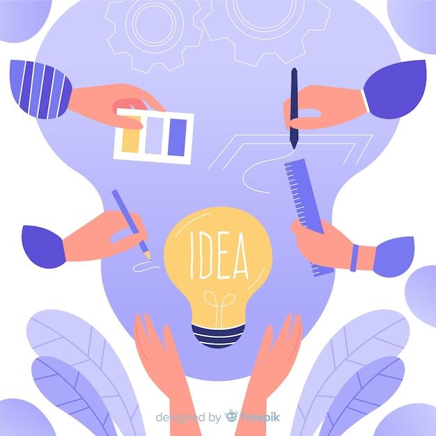 Graphic design teamwork concept hands Free Vector