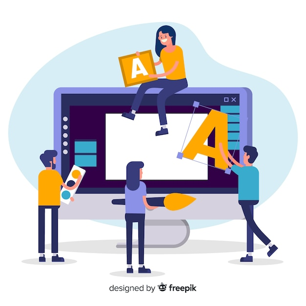 Graphic design teamwork concept Free Vector