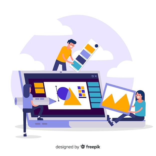 Graphic design teamwork concept Free Vector
