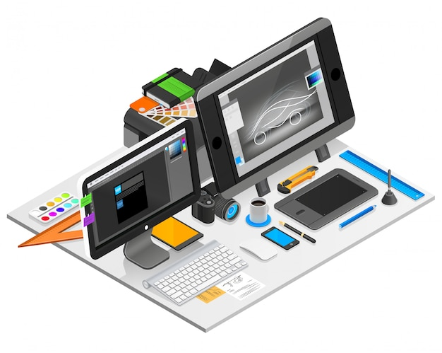 Graphic design workplace illustration Free Vector