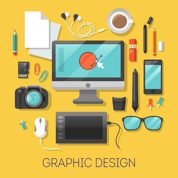 Графический дизайн на рабочем месте с компьютерными и цифровыми инструментами. Premium векторы