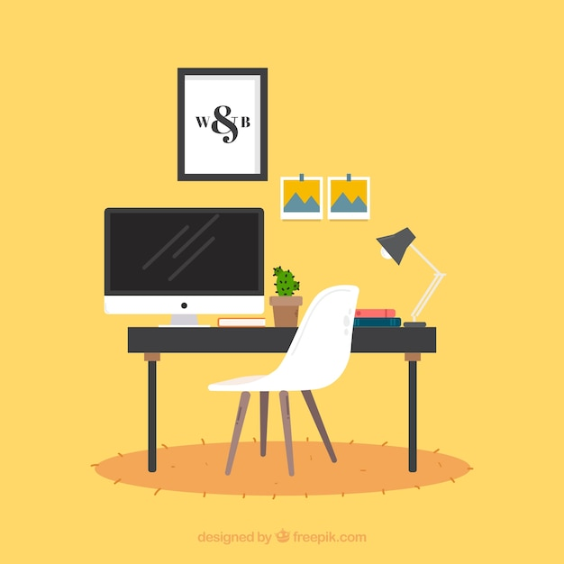 Graphic design workspace background in hand drawn style Free Vector