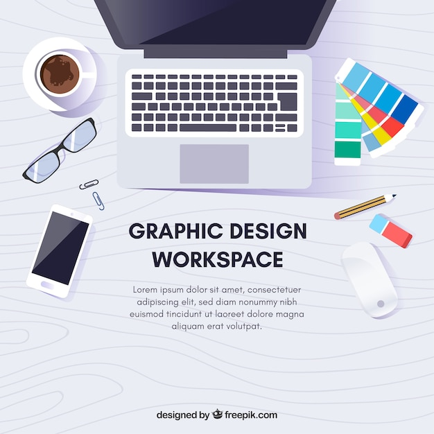 Graphic design workspace background with desk and tools Free Vector