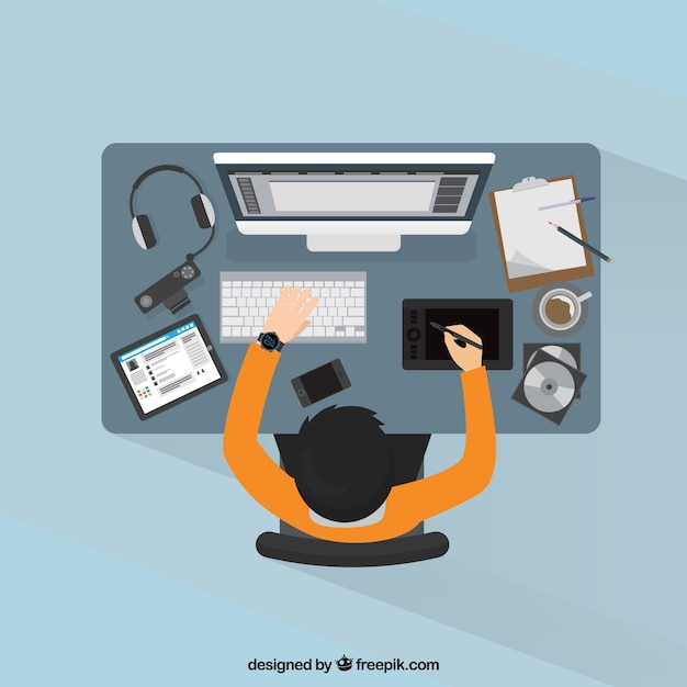 Graphic design workspace background Free Vector