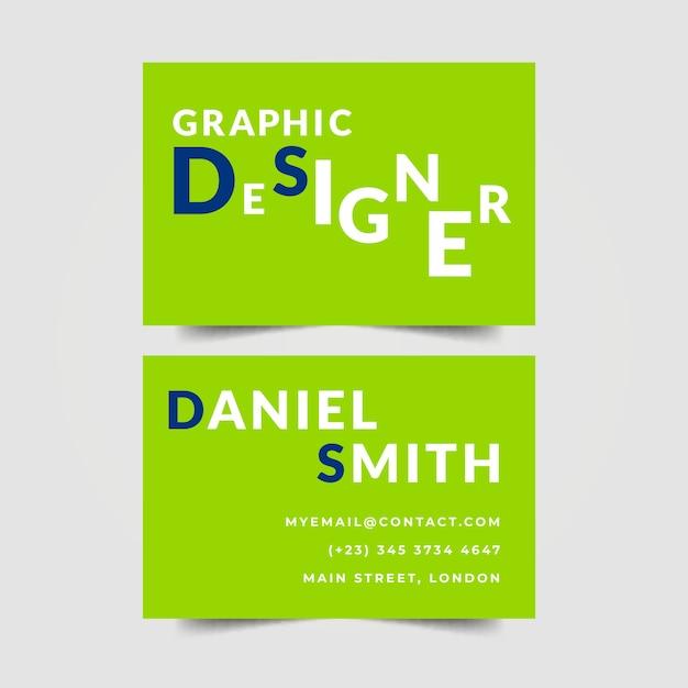 Графический дизайнер визитка надписи Бесплатные векторы