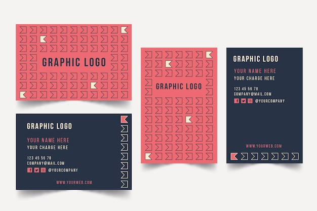 Graphic designer business card template with fun shapes Free Vector