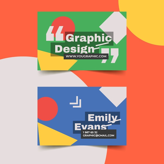 Graphic designer business card template with geometrical shapes Free Vector