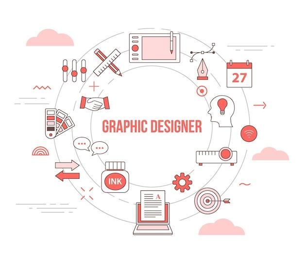 Концепция графического дизайнера с набором иконок Premium векторы