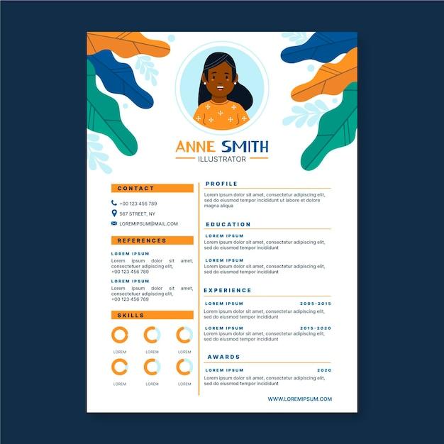 Graphic designer cv template illustrated Free Vector