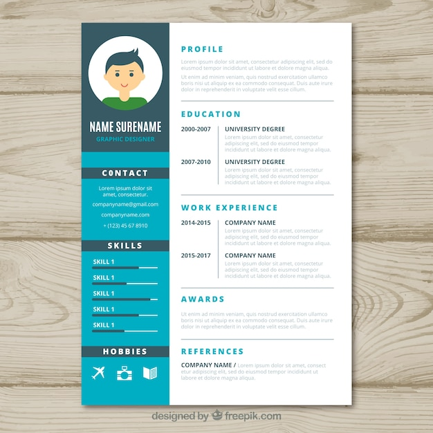 Graphic designer cv template vector free download for Graphic designer resume template free download
