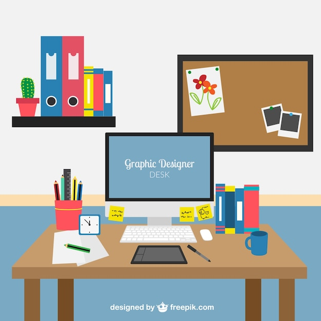 Graphic Designer Desk Vector Premium Download
