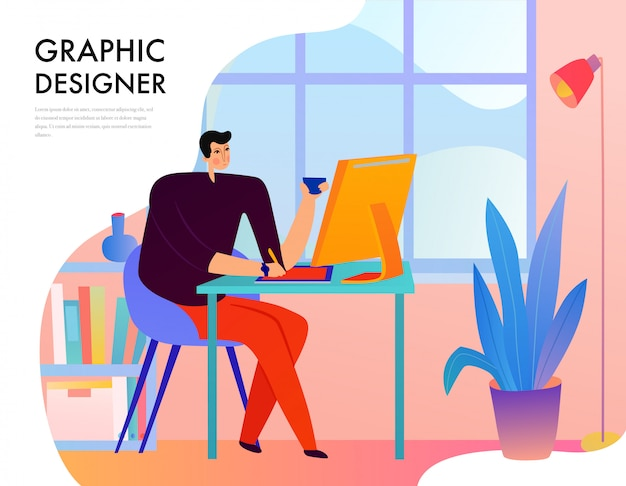 Graphic designer during creative work behind desk with computer on window  flat Free Vector